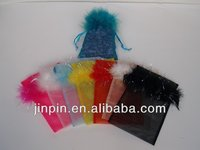 organza bag with feather