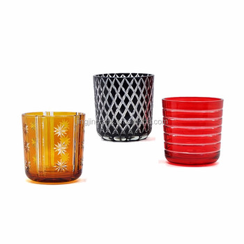 Yes handmade luxury empty glass candle holder custom hand cutting candle jar with lid