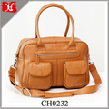 Multi-functional fashion leather mummy baby changing diaper tote bag