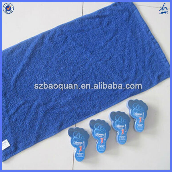 Nice shape cotton compress towel/ compact compress beach towel