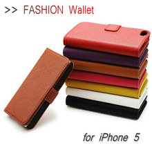 2014 Highly Welcomed for I Phone 5 Case with Stand Function Card Slots Litchi Style PU Leather Cell Phone Case for Iphone 5 5S