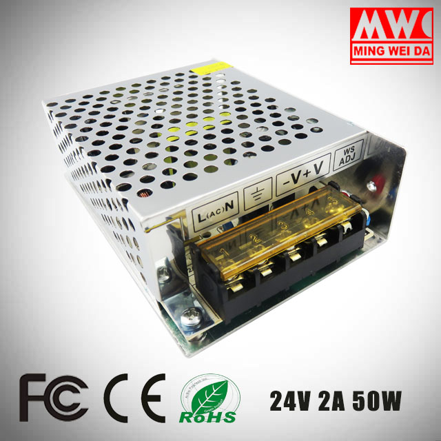 2017 New product ac/dc power supply 24V 2A 50W S-50-24 From China factory