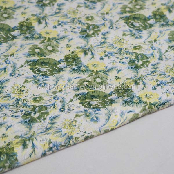 LIGHT GREEN COLOR PRINTED FLOWER LEATHER FOR SPRING AND SUMMER LEATHER PRODUCTES LEATHER