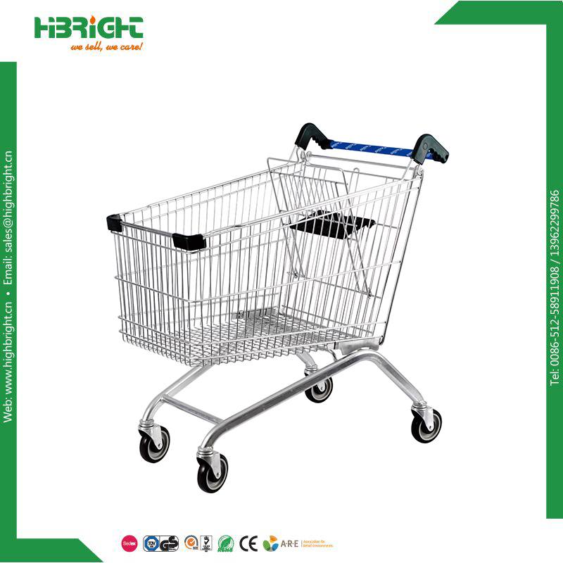Highbright best grocery shopping cart manufacturer cheap price four wheels metal supermarket used shopping trolley for sale