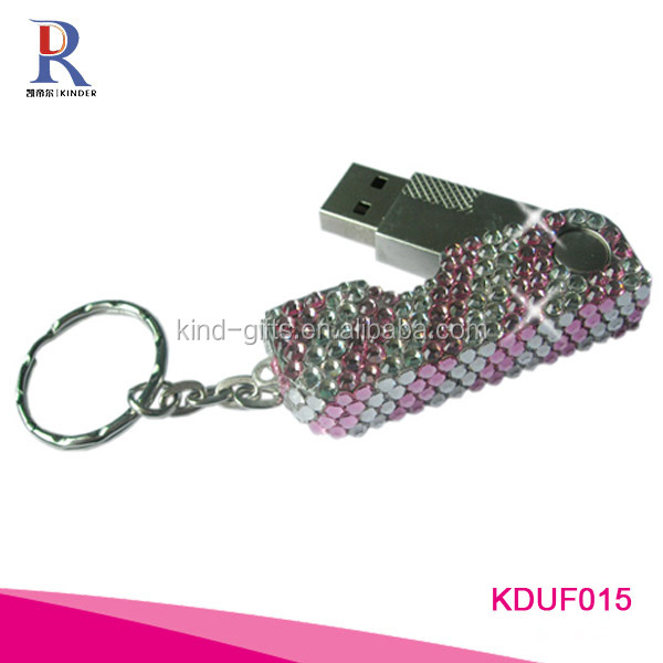 China Bling Crystal Swivel Shape USB Flash Drive