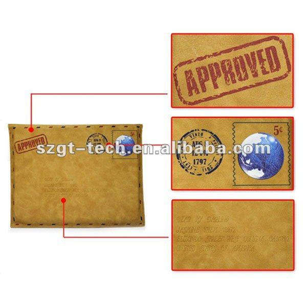 Retro PU Leather Envelope Postcard design Pouch Protective cover Case for iPad3 and new iPad