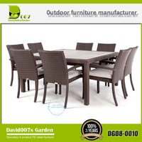 new Bulk outdoor aluminium artificial rattan furniture dining table set DGD8-0010