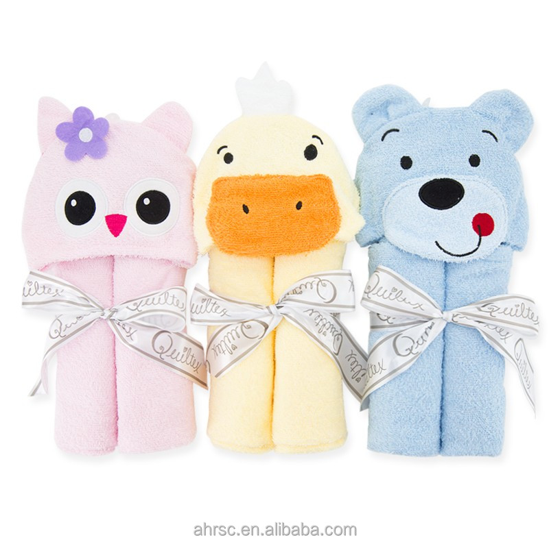 soft baby hooded towel set kids cartoon towel