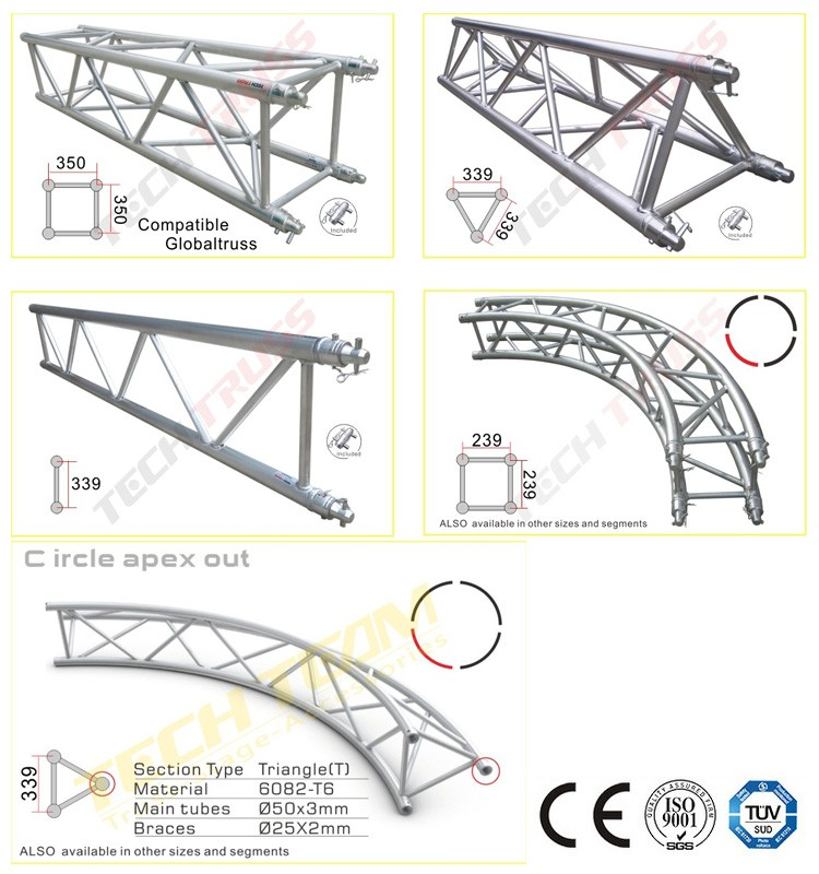 China factory cheap aluminum square truss with tuv for Cheap truss systems