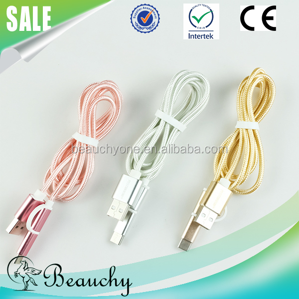 2016 Beauchy Professional usb mobile phone pc data cable manufacturer 2 in 1 cable