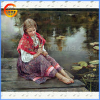 sit in the river bank beautiful woman oil painting on canvas