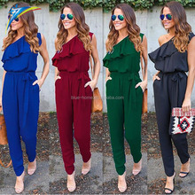 alibaba Women Red Black Flounce Bandage Chiffon Jumpsuit Club Jumpsuits Fashion Bodycon Long Section Women Jumpsuit