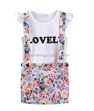 2017 China Latest New Frock Design Kidswear Children Skirt Suits, Little girls suspenders floral skirt with tee
