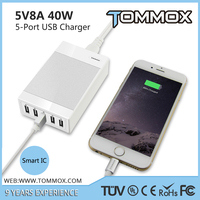 Shenzhen charger factory TOMMOX 40W Power Converter With 5 port Smart USB Chargers