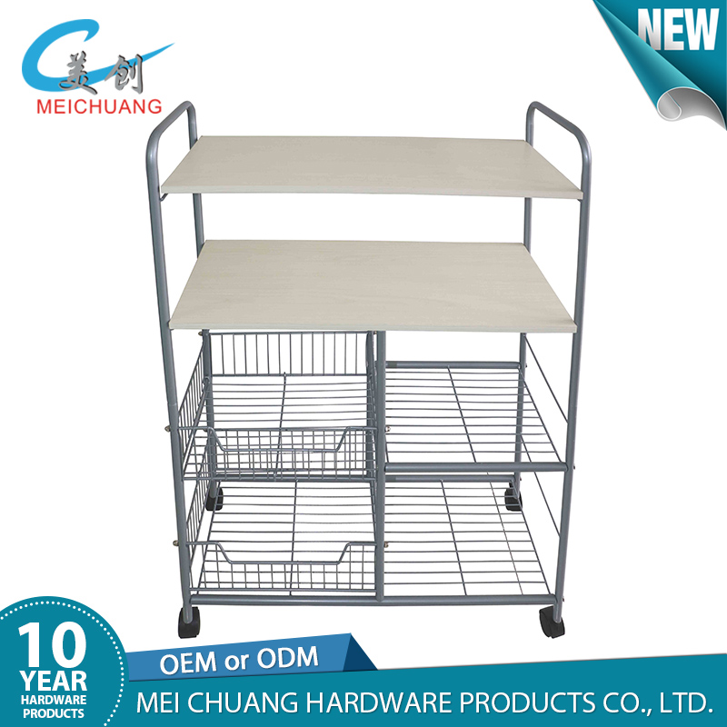 Modern Portable Rolling Wire Shelf Wood Top Kitchen Storage Trolley