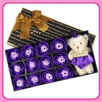 Romantic gifts Cute Rose Soap Flower with lovely plush Bear