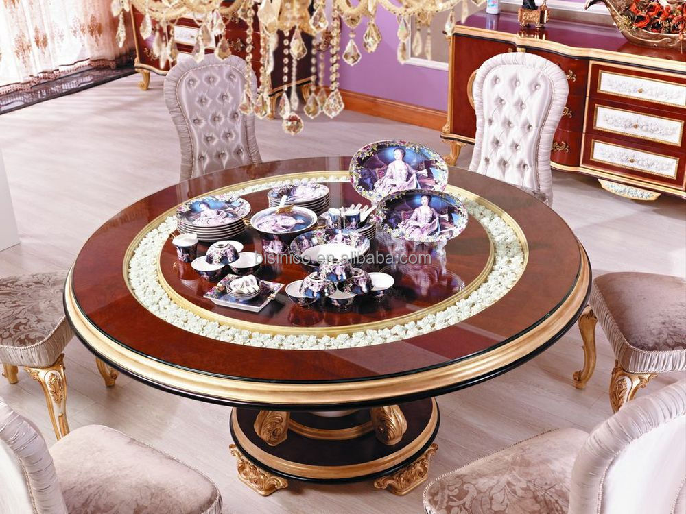 Victorian Style New Classic Dining Room Furniture Luxury Round Wood Carving Dining Table For 6