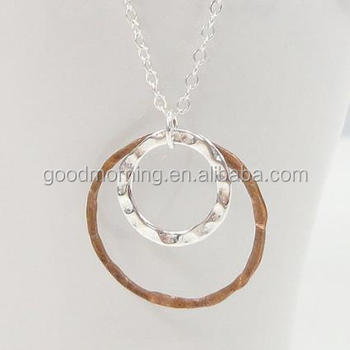 Simple Circle Mixed Metal Necklace