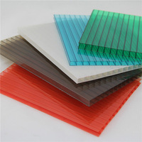 Transparent 8mm hollow double wall Polycarbonate solar panel soundproof roofing Sheet