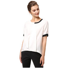 Contrast color neckline cuff design short sleeves t shirt for women