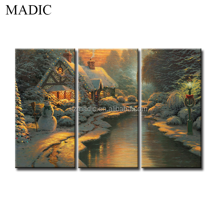 Stretched Canvas Painting 3 Piece Living Room Wall Art Printed Oil Painting Pictures the House in Snow Christmas Wall Decoration