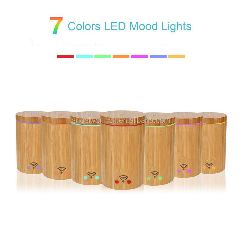 Amazon China supplier real bamboo WIFI diffuser Alexa echo compatible APP humidifier with 7C led light