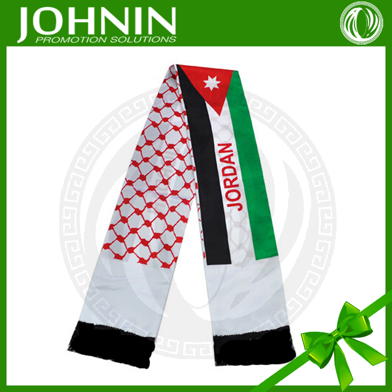 hot promotional gift advertising white red black Jordan flag scarf
