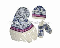 2012 new style winter acrylic knitted hat scarf glove set
