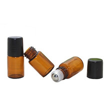 cheap price Perfume vials 3ml amber roll on glass bottle with black cap wholesale