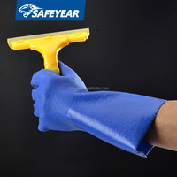 PVC glove blue,long protective gloves,heavy duty pvc gloves(FL-2652D)
