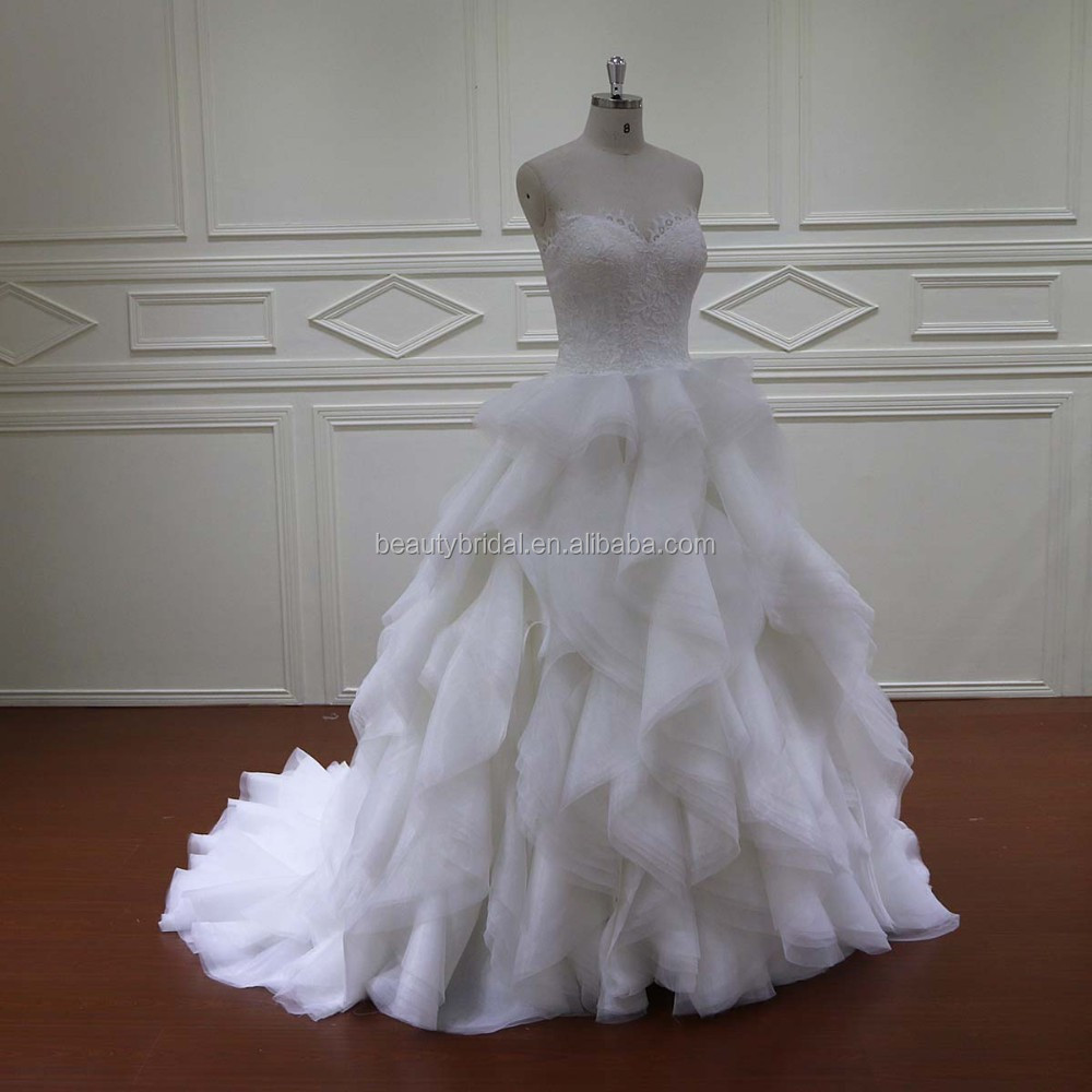 2016 luxury vintage ruffle long trail bridal wedding gown