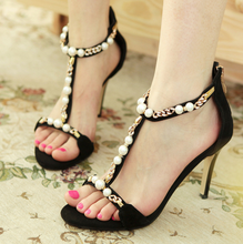 DL20260B 2017 new fashion design women sandals ladies high heel black ankle strap sandals with bead
