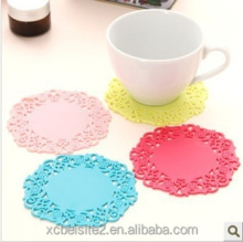 N419simple round silicone coaster hollow insulation pads drink coaster