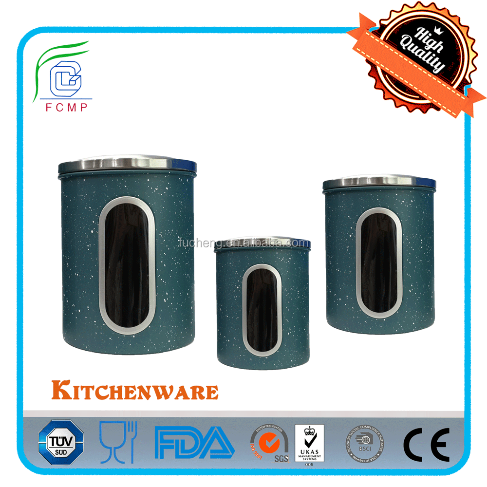 High quality jar small canister in blue and white stone coating