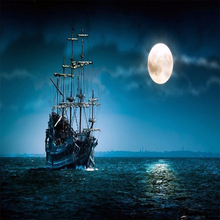 Boat And Moon Diamond Painting Art On Canvas