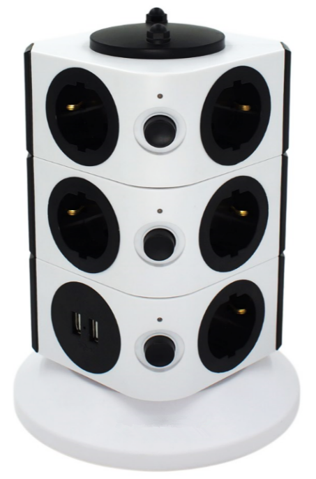 Hot Sale one year warrenty 11 outlet Power Extension Tower Strip with with usb ports FCC CE certificate