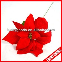 Artificial red velvet single poinsettia flower wholesale
