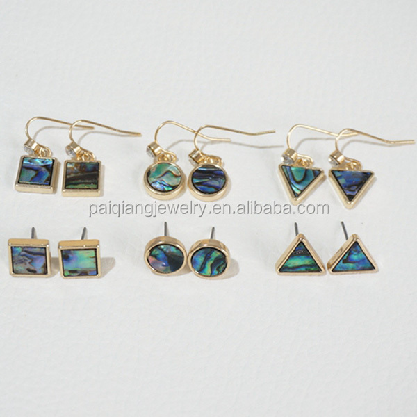 New paua shell abalone pattern triangle round square gem stud earring