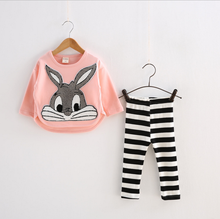 Boutique clothing sets kids bunny embroidery long-sleeve T-shirt + Leggings Set