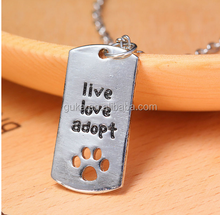 "2016 New Rectangular Cat Dogs "" live love adopt "" Pet Rescue Paw Print dog tag necklace"
