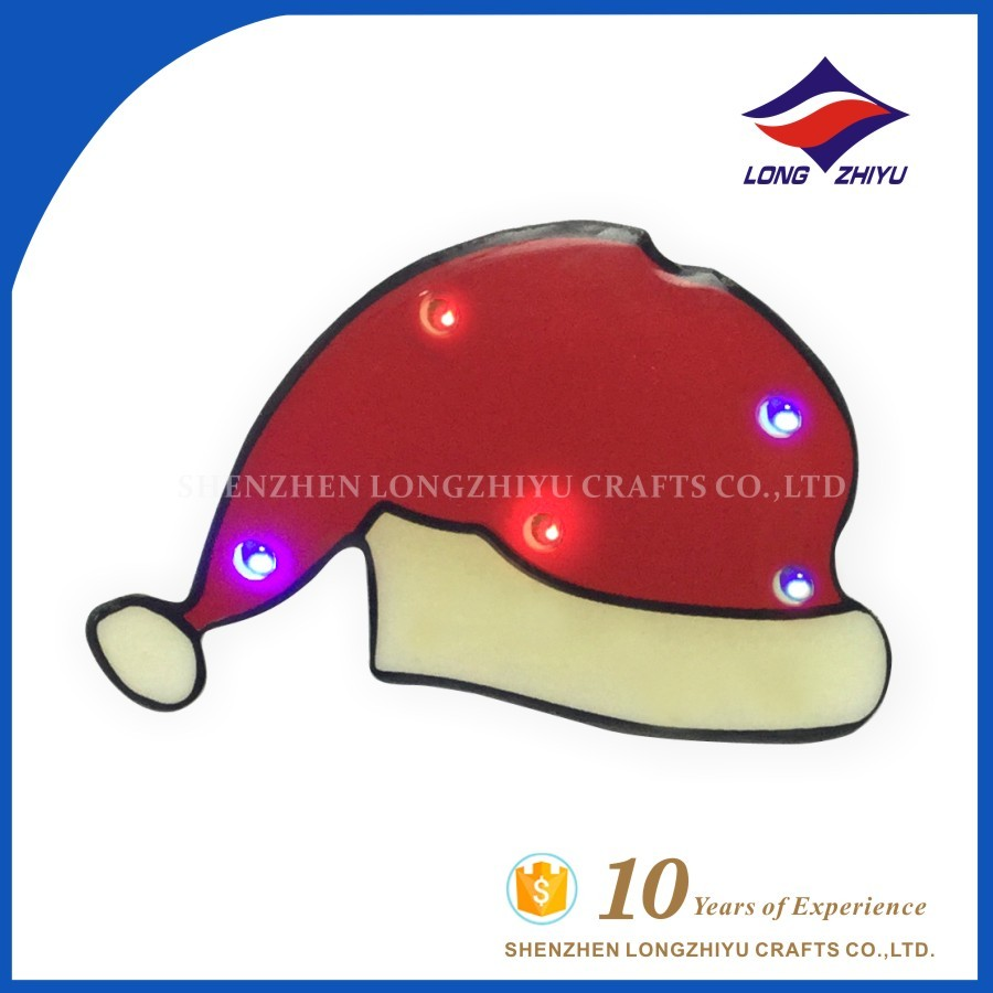 Hot Fashion Christmas Led Flashing Badge Pin Father Christmas Hat Gift Collar Pins For Promotion