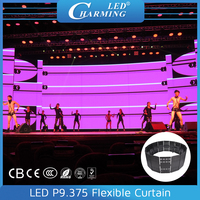 Portable led curtain display/plastic wedding stage background curtain screen p9 indoor flexible rental led video effect display