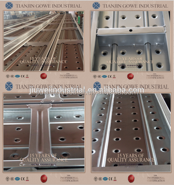 China BS1139 metal deck plank used as working platform in scaffolding system
