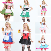 2016 Sexy Adult Beer Girl Festival French Maid Party Dresses Halloween Cosplay Oktoberfest Costume For Women Suspenders Dress