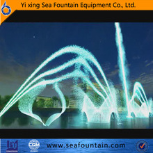 Outdoor lake or river floating color changing dancing water fountain