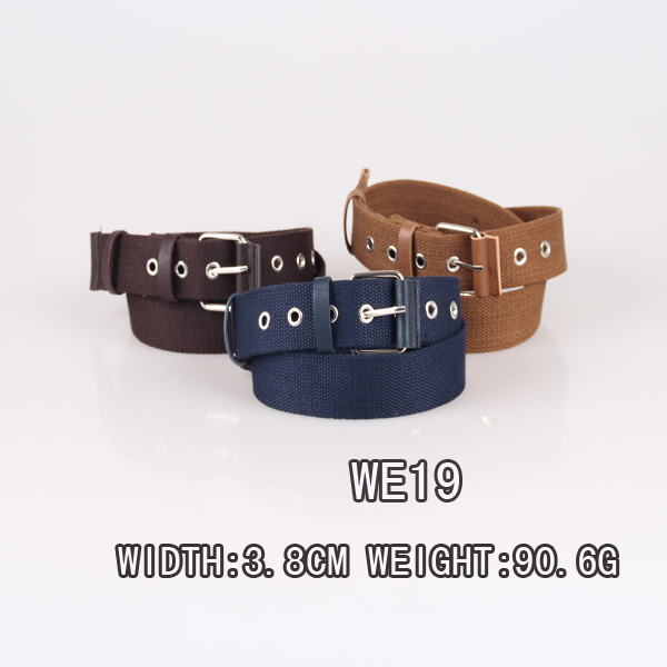 2016 popular style high quality men webbing belt with metal eyelets