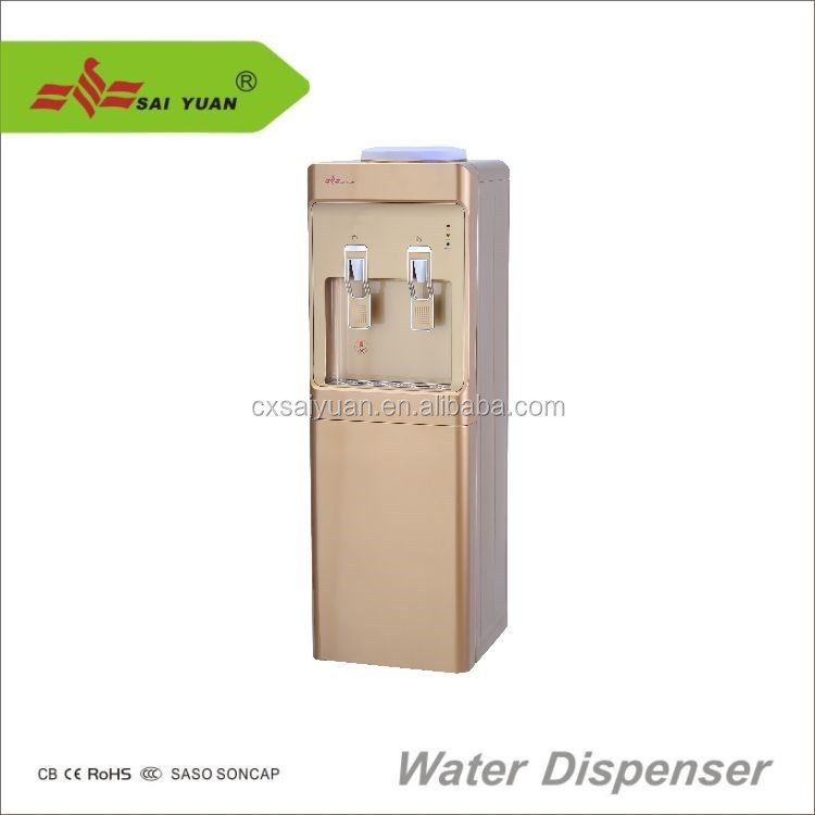39 inch bottom load water cooler dispenser hot cold and room temperatures, golden