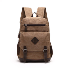 Large capacity fashion retro vintage wear resistant durable sports laptop leisure man outdoor canvas backpack