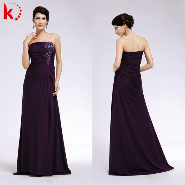 Off shoulder ruffle simple purple latest dress designs formal evening dress 1313