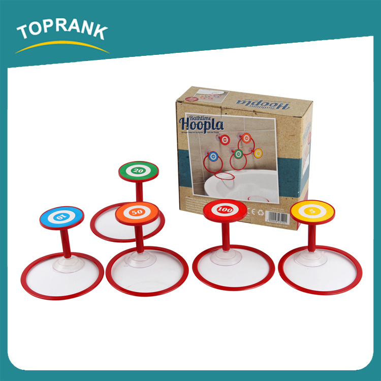 Toprank Eco-friendly Cute Gift Bathtime hoopla Game Ring Toss Set Happy Bath Toy Set Plastic Kids Bath Toy With Sucker For Baby